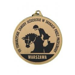 Medal stalowy zloty pierwsze miejsce grawerowany laminat