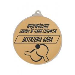 Medal zamak srebrny piłka nożna z grawerowaniem na laminacie