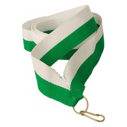 Wstążka 11 mm - biało-zielona