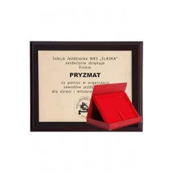Dyplom z tworzywa sztucznego z laminatem grawerowany + etui 355x300 mm
