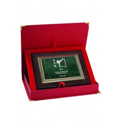 Dyplom z tworzywa sztucznego z grawerem na złotej blaszce + ETUI