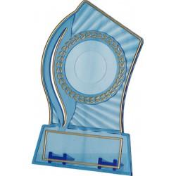 Trofeum plastikowe przezroczysto złote z miejscem na wklejkę 25/40mm i tabliczkę 56mmX18mm T-M
