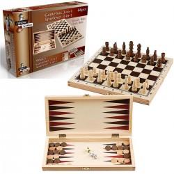 Zestaw Szachy Warcaby Backgammon 3W1