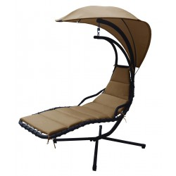 Huśtawka fotel bujany Lea beżowy - antracyt Saska Garden