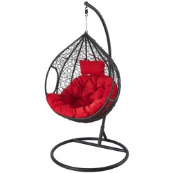 Huśtawka fotel bujany kokon r. L czerwony czarny