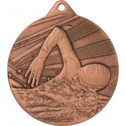 Medal 50mm stalowy brązowy - pływanie ME003/B
