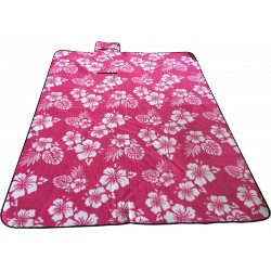 Koc Plażowo Piknikowy 200X200Cm Różowy Kwiaty Royokamp
