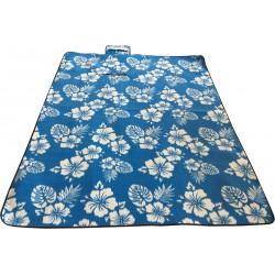 Koc Plażowo Piknikowy 200X200Cm Niebieski Kwiaty Royokamp