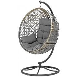 Huśtawka Fotel Wiszący Cocoon Obrotowy Look 360 Szary/Szary