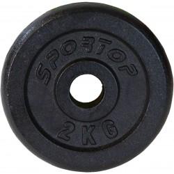 Obciążenie żeliwne czarne 2 kg sportop fi26,5