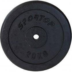 Obciążenie żeliwne czarne 20 kg Sportop fi26,5
