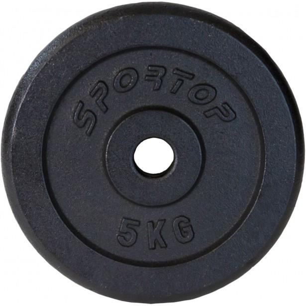 Obciążenie żeliwne czarne 5 kg Sportop fi26,5