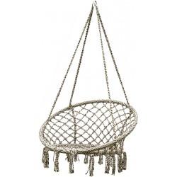 Hamak bocianie gniazdo fotel wiszący 80x60cm szary krem