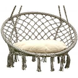Hamak ażurowy fotel wiszący 80x60cm z poduszką szary