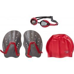 Zestaw Speedo Training Pack okularki czepek wiosełka L