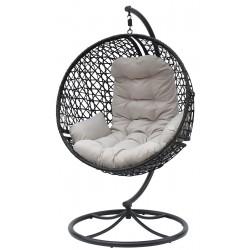 Huśtawka fotel wiszący kokon obrotowy Look 360 czarny - jasny szary
