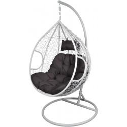 Kokon fotel wiszący biały z ciemno szarą poduszką r.L