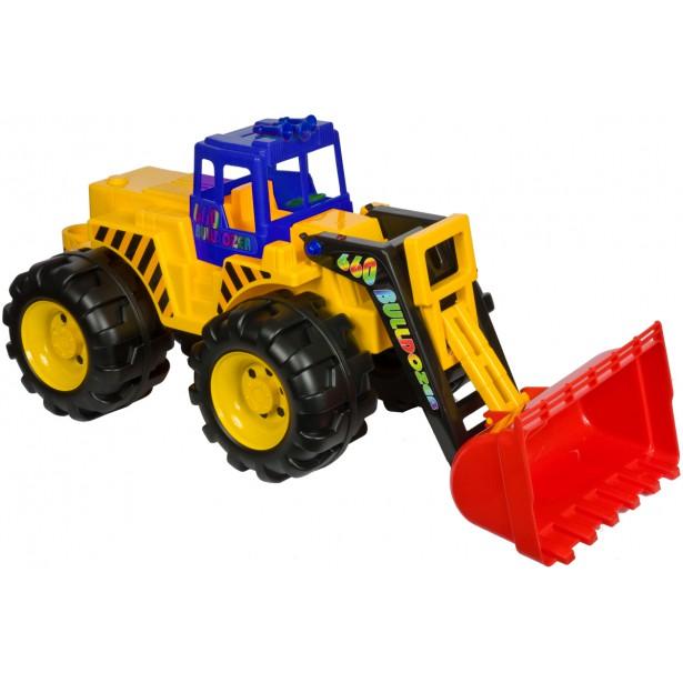 Buldożer ładowarka 84x37x36cm koła 200mm niebiesko żółty