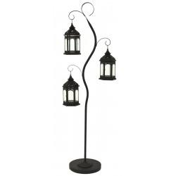 Drzewko dekoracyjne 125cm i 3 latarnie dekoracyjne 24,5cm - Czarne