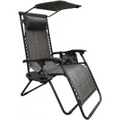 Fotel leżak ogrody składany z daszkiem i zagłówkiem szary