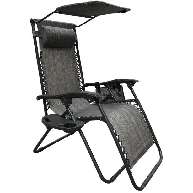 Fotel leżak ogrodowy składany z daszkiem i zagłówkiem szary