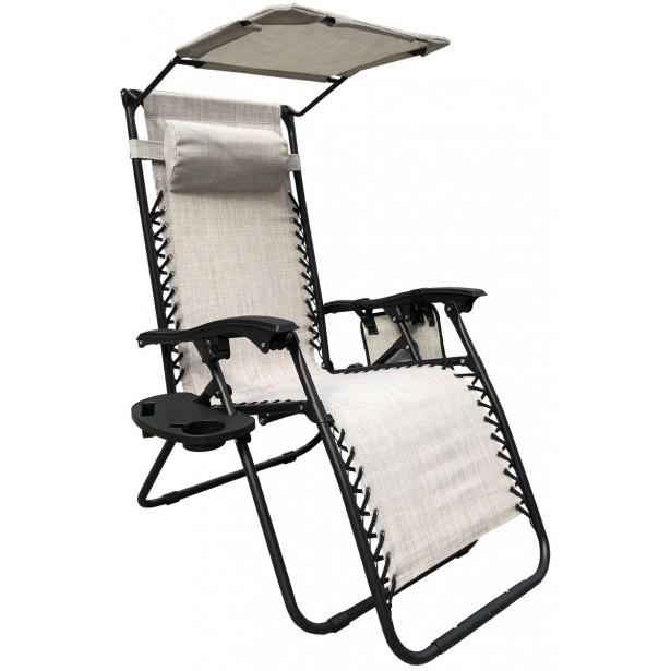 Fotel leżak ogrodowy składany z daszkiem i zagłówkiem beżowy