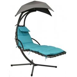 Huśtawka fotel wiszący bujany z parasolem Lizbona szaro-turkusowa