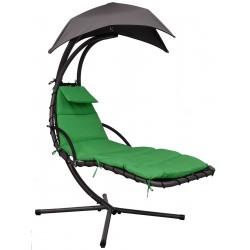 Huśtawka fotel wiszący bujany z parasolem Lizbona szaro-zielona