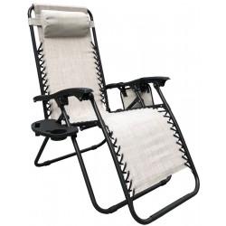 Leżak ogrodowy składany wielofunkcyjny ze stolikiem i gazetownikiem 175x52/65x110cm beżowy