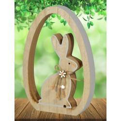 Dekoracja Wielkanocna Drewniana Zajączek 17x3x24cm