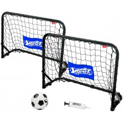 Zestaw 2 bramek metalowych do piłki nożnej z siatką 60x45x24cm