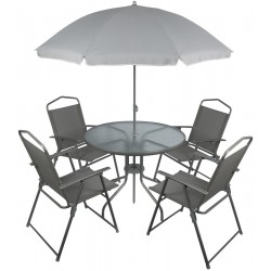 Zestaw mebli ogrodowych Milano stół 4 krzesła parasol szary