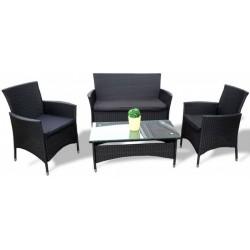 Zestaw mebli ratanowych Jamaica stół 2 fotele i ławka czarny