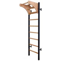 Drabinka gimnastyczna drewniano metalowa na 4 uchwyty z drewnianym drążkiem