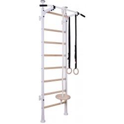 Drabinka gimnastyczna drewniano metalowa z metalowym drążkiem i akcesoriami dla dzieci biała
