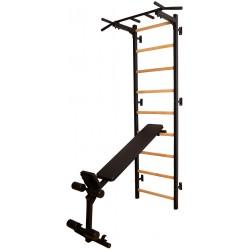 Drabinka gimnastyczna z drążkiem poręczą do ćwiczeń i ławeczką