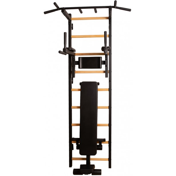Drabinka gimnastyczna z drążkiem poręczą do ćwiczeń i ławeczką BenchK 313B