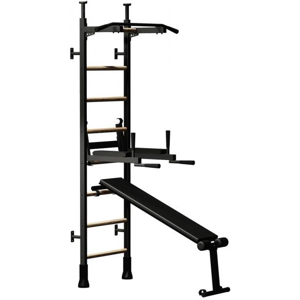 Rozporowa drabinka gimnastyczna z metalowym drążkiem poręczą i ławką kolor dębu BenchK 513