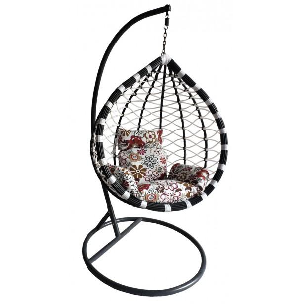 Huśtawka fotel bujany kokon kolor czarno/biały