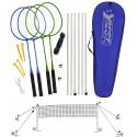 Zestaw do badmintona 5w1 słupki siatka rakiety lotki pokrowiec Best Sporting 500