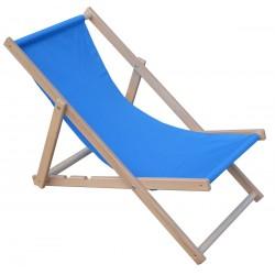 Leżak plażowy składany drewniany chabrowy Royokamp