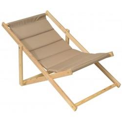 Leżak plażowy składany drewniany deluxe cappucino Royokamp
