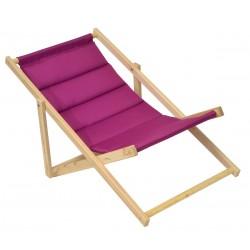 Leżak plażowy składany drewniany deluxe fuksja Royokamp