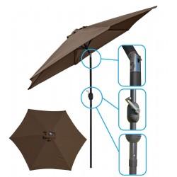 Parasol ogrodowy 250cm składany brązowy Saska Garden