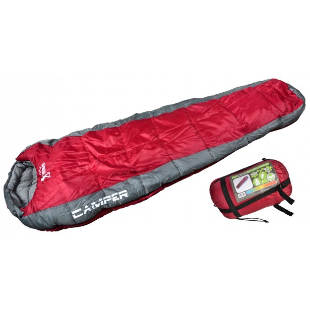 Śpiwór Camper czerwono szary 220X80x50cm Royokamp