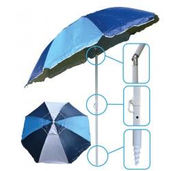Parasol plażowo ogrodowy 220 cm melanż niebiesko biały