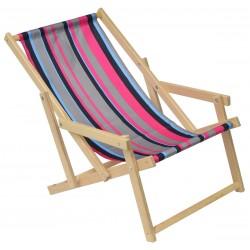 Leżak plażowy drewniany z podłokietnikiem classic w pasy