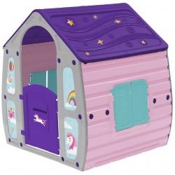 Ogrodowy domek dla dzieci jednorożec 102x90x109cm szaro fioletowy
