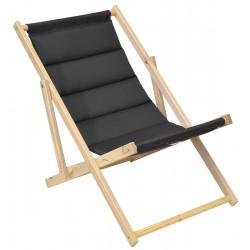Leżak plażowy składany drewniany deluxe antracyt Royokamp