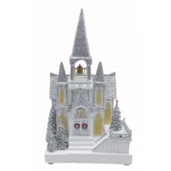 Kościółek śnieżny dekoracyjny led 22x16x38 cm